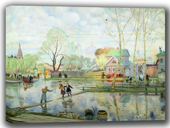 Kustodiev, Boris: Spring. Fine Art Canvas. Sizes: A4/A3/A2/A1 (002192)